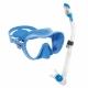 Schnorchelset mit rahmenloser Maske F1 und Dry Schnorchel in Blau
