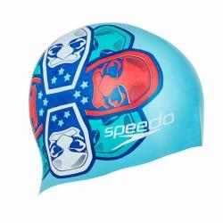 Kinder Badekappe Slogan Print Blau Speedo
