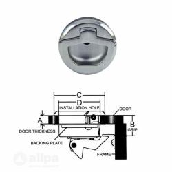 Einlassgriff Drehverschluß aus NIRO Für Materialstärke bis 22 mm von Allpa