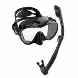 Schnorchelset mit rahmenloser Maske F1 und Dry Schnorchel in Schwarz