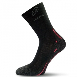 Merino Trekking Socke schwarz Lasting WHI