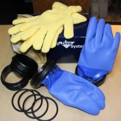 Checkup Dive System Trockentauchhandschuhe Blau im Set 89mm Gr. XL