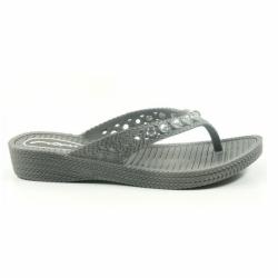 Futiga Schuhe Damen Badepantoletten Zehentrenner V-Strap in Grau von Fashy