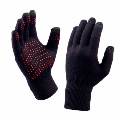 Merino Sport Freizeit Handschuhe Black - Red Dots One Size