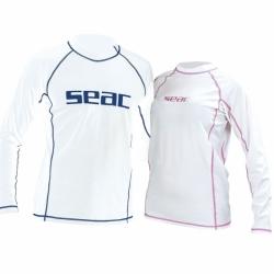 Damen Sunguard UV50+ Rash Guard Schnorchelshirt in Weiss Pink von Seac Sub
