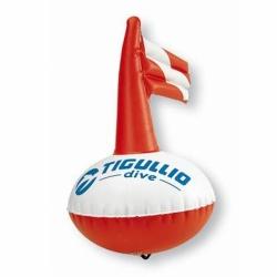 Markierboje Tigullio Rund 38 cm mit aufblasbarer Fahne in Weiss/Rot
