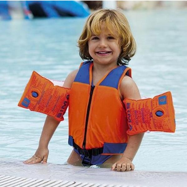 kinder schwimmweste orange blau mit schrittgurt und rei verschluss von fashy for kids. Black Bedroom Furniture Sets. Home Design Ideas